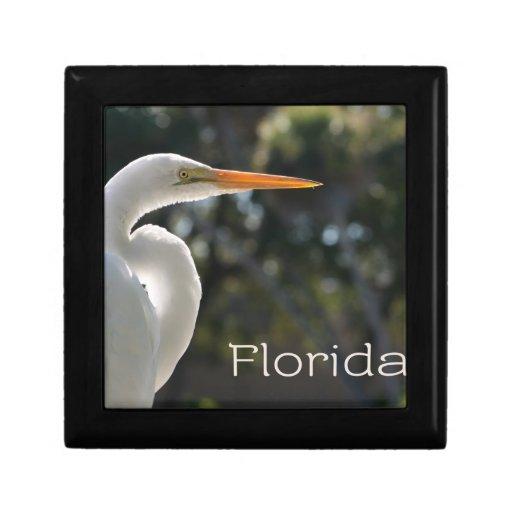 Texto retroiluminado de la Florida del Egret blanc Caja De Joyas