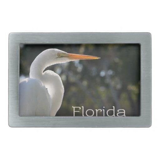 Texto retroiluminado de la Florida del Egret blanc Hebilla De Cinturón Rectangular