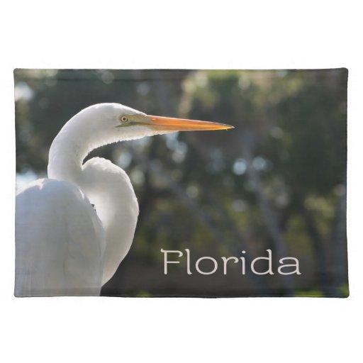 Texto retroiluminado de la Florida del Egret blanc Mantel