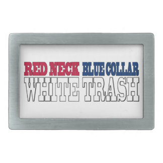 Texto rojo de la basura blanca del cuello azul del hebillas cinturón rectangulares