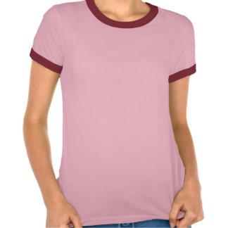 texto rojo de la raya del rollergirl camiseta