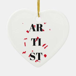 Texto rojo del ejemplo del diseño de la mota del adorno navideño de cerámica en forma de corazón