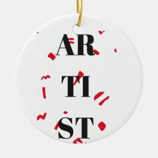 Texto rojo del ejemplo del diseño de la mota del adorno navideño redondo de cerámica