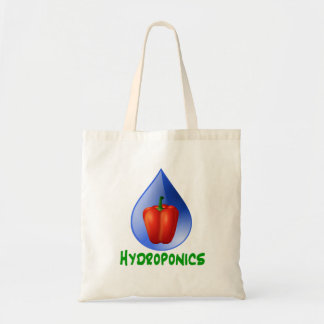 Texto rojo del verde del paprika del hidrocultivo bolsas de mano