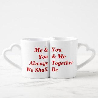 Texto rojo romántico taza para parejas