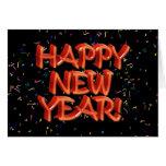 Texto rojo vidrioso de la Feliz Año Nuevo