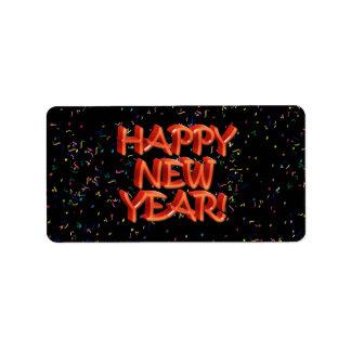 Texto rojo vidrioso de la Feliz Año Nuevo Etiqueta De Dirección