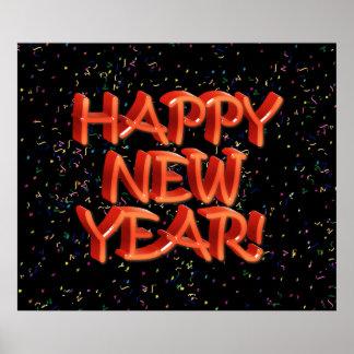 Texto rojo vidrioso de la Feliz Año Nuevo Póster
