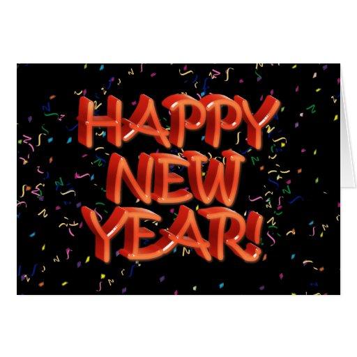 Texto rojo vidrioso de la Feliz Año Nuevo Tarjeta De Felicitación