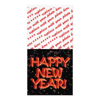 Texto rojo vidrioso de la Feliz Año Nuevo Tarjeta Personal Con Foto