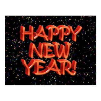 Texto rojo vidrioso de la Feliz Año Nuevo Tarjetas Postales