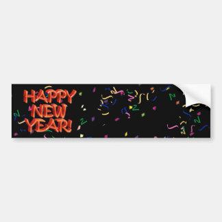 Texto rojo w/Confetti de la Feliz Año Nuevo Pegatina Para Auto