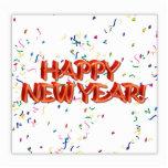 Texto rojo w/Confetti de la Feliz Año Nuevo Esculturas Fotograficas
