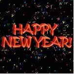 Texto rojo w/Confetti de la Feliz Año Nuevo Escultura Fotográfica
