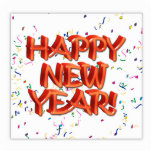 Texto rojo w/Confetti de la Feliz Año Nuevo Escultura Fotografica