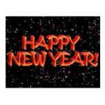 Texto rojo w/Confetti de la Feliz Año Nuevo Postal