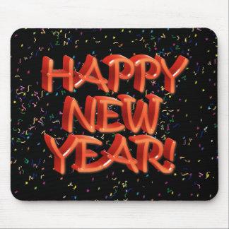 Texto rojo w Confetti de la Feliz Año Nuevo Tapete De Ratón