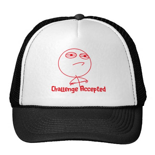 Texto rojo y blanco aceptado desafío gorras de camionero
