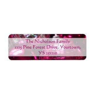 Texto rosado del rosa de la etiqueta del remite de etiqueta de remitente