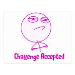 Texto rosado y blanco aceptado desafío postal