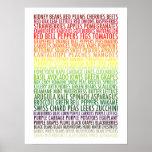 Texto sano de las frutas y verduras del arco iris  impresiones