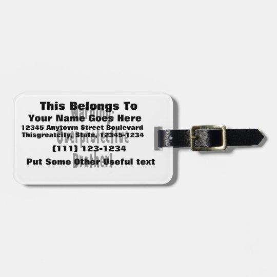 texto sobreprotector amonestador del negro del etiquetas para maletas