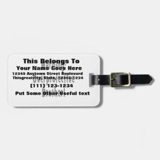 texto sobreprotector amonestador del negro del her etiquetas de equipaje