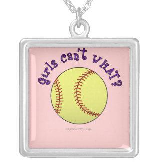 Texto Softball-Púrpura del chica Colgante Cuadrado