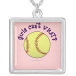 Texto Softball-Púrpura del chica Colgantes Personalizados