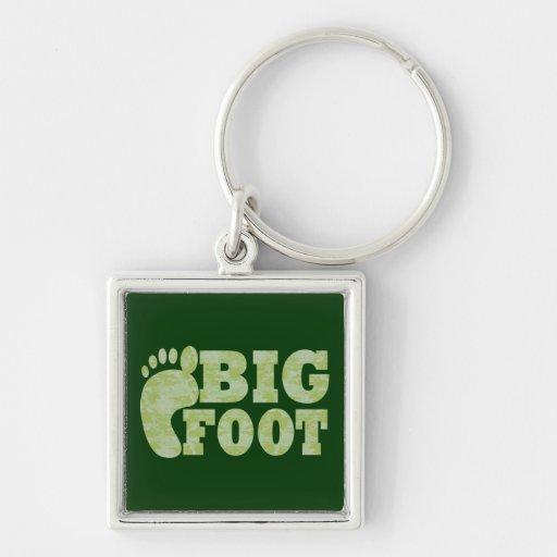 Texto verde de Bigfoot del camuflaje Llavero Cuadrado Plateado