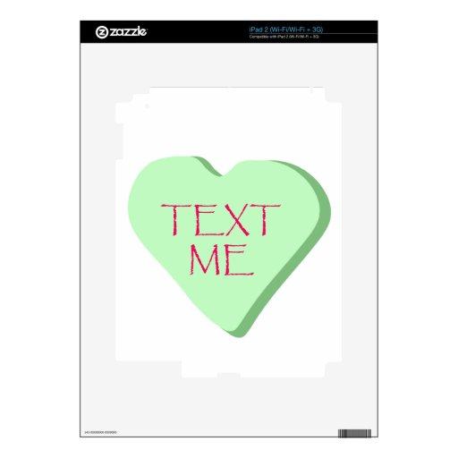 Texto yo corazón del caramelo skins para iPad 2