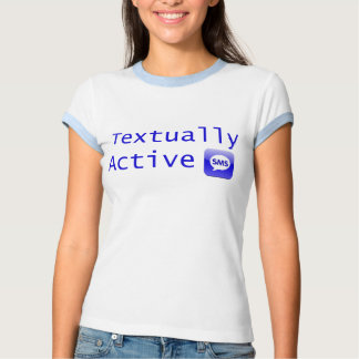 Textually Active in Blue Lettering T-shirt