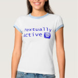 Textually Active in Blue Lettering Tees