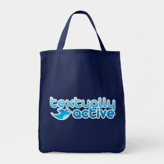 Textually Active on Twitter Texting Trendy Tote Bag