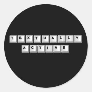 textually active. round sticker