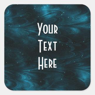 Textura abstracta de la nebulosa - azul pegatina cuadrada