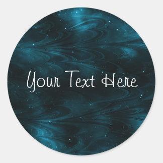 Textura abstracta de la nebulosa - azul pegatina redonda