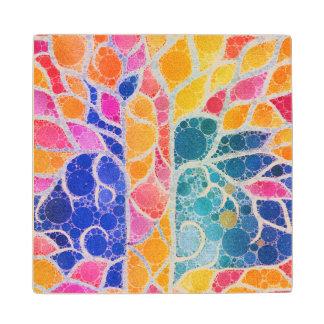 Textura abstracta vibrante hermosa posavasos de madera