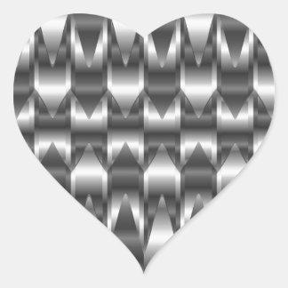 Textura acanalada del metal pegatina en forma de corazón