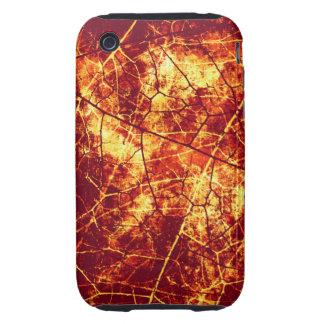 Textura agrietada roja oxidada del Grunge del Tough iPhone 3 Cárcasa