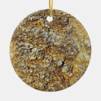 Textura amarilla de la roca adorno redondo de cerámica