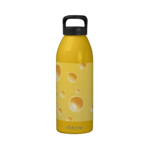 Textura amarilla del queso suizo botella de beber
