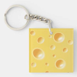 Textura amarilla del queso suizo llavero