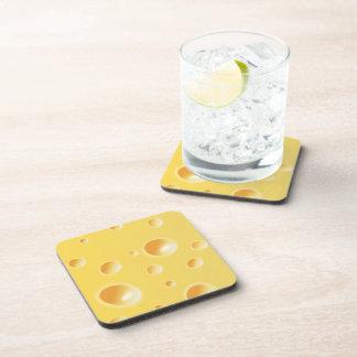 Textura amarilla del queso suizo posavasos de bebidas