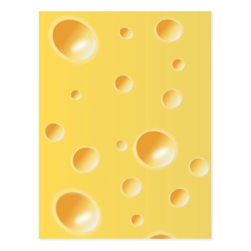 Textura amarilla del queso suizo tarjeta postal