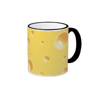 Textura amarilla del queso suizo taza a dos colores