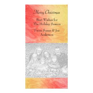 Textura amarilla roja del navidad tarjetas fotograficas personalizadas