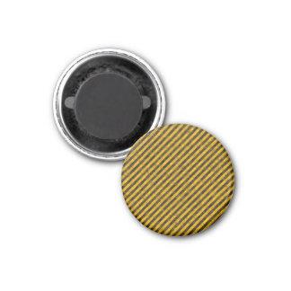 Textura amarilla y negra de las rayas del peligro imán redondo 3 cm