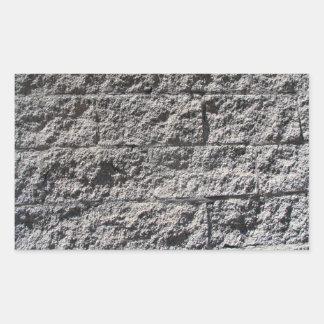 Textura áspera de la pared de piedra pegatina rectangular