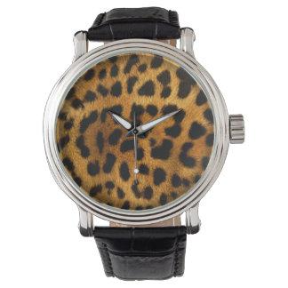 Textura auténtica de la piel del leopardo (modelos reloj de mano